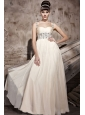 Champagne Empire Straps Floor-length Chiffon Beading Prom Dress