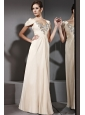 Champagne Empire V-neck Floor-length Chiffon Beading Prom / Evening Dress