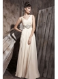 Champagne Empire V-neck Floor-length Chiffon Beading Prom Dress