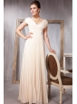 Champagne Empire V-neck Floor-length Chiffon Pleat and Beading Prom / Evening Dress
