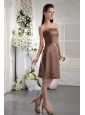Brown Empire Strapless Knee-length Satin Bow Bridesmaid Dress