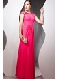 Hot Pink Empire High Neck Floor-length Chiffon Beading Prom Dress
