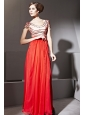 Coral Red Empire Scoop Floor-length Chiffon Beading and Ruch Prom / Celebrity Dress
