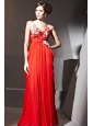 Coral Red Empire V-neck Floor-length Chiffon Appliques and Ruch Prom / Celebrity Dress