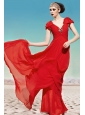 Coral Red V-neck Floor-length Chiffon Ruch and Beading Prom Dress