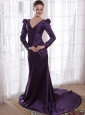 Dark Purple Column / Sheath V-neck Brush /Sweep Satin Mother of the Bride Dress