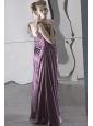 Dark Purple Empire One Shoulder Floor-length Chiffon Beading and Ruch Prom / Celebrity Dress