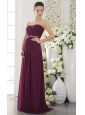 Dark Purple Empire Sweetheart Floor-length Chiffon Beading and Ruch Bridesmaid Dress
