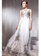 Elegant Empire V-neck Floor-length Print Beading Prom / Evening Dress