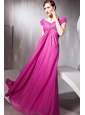 Fuchsia Empire V-neck Floor-length Chiffon Beading Prom Dress
