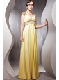 Light Yellow Empire V-neck Floor-length Elastic Woven Satin Beading Prom Dress