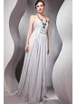 Gray Empire Halter Floor-length Chiffon Beading Prom / Evening Dress