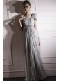 Gray Empire One Shoulder Floor-length Chiffon Beading and Ruch Prom / Celebrity Dress
