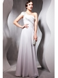Gray Empire One Shoulder Floor-length Chiffon Beading Prom / Party Dress