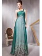 Green Empire One Shoulder Floor-length Print Beading Prom / Evening Dress