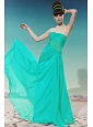 Turquoise Empire Strapless Floor-length Chiffon Beading Prom / Pageant Dress
