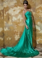 Green Empire Sweetheart Brush Train Elastic Woven Satin Appliques and Pleat Prom / Celebrity Dress