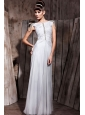Grey Column Bateau Floor-length Chiffon Beading Prom Dress