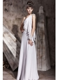 White Column One Shoulder Floor-length Chiffon Beading Prom Dress