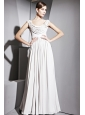 Grey Empire Off The Shoulder Floor-length Chiffon Beading Prom Dress