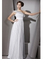 Grey Empire One Shoulder Floor-length Chiffon Beading and Ruch Prom Dress