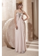 Light Pink Empire V-neck Floor-length Chiffon Beading and Ruch Prom / Celebrity Dress