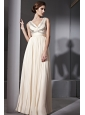 Champagne Empire V-neck Floor-length Chiffon Beading and Ruch Prom / Celebrity Dress