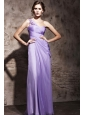 Lilac Column / Sheath One Shoulder Floor-length Chiffon Beading Prom / Evening Dress