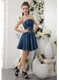 Navy Blue A-line Strapless Short Taffeta Ruch Bridesmaid Dress