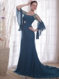 Navy Blue Column / Sheath Square Brush /Sweep Chiffon Mother of the Bride Dress