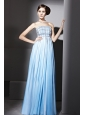 Ombre Color Empire Strapless Floor-length Chiffon Beading Prom Dress