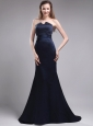 Perfect Column Strapless Brush Train Satin Beading Navy Blue Mother of the Bride Dress