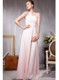 Light Pink Empire One Shoulder Floor-length Chiffon Beading Prom Dress