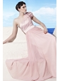 Baby Pink Empire One Shoulder Floor-length Chiffon Pleat Prom Dress