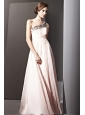 Baby Pink Empire One Shoulder Floor-length Chiffon Rhinestones Prom Dress