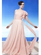 Light Pink Empire One Shoulder Floor-length Chiffon Ruch Prom Dress