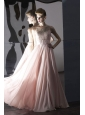 Baby Pink Empire Scoop Floor-length Chiffon Beading Prom Dress