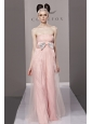 Baby Pink Empire Strapless Floor-length Tulle Bowknot Prom Dress