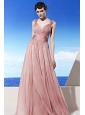 Light Pink Empire V-neck Floor-length Chiffon Beading Prom Dress