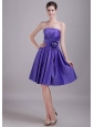 Purple A-line / Princess Strapless Knee-length Satin Handle-made Flower Bridesmaid Dress