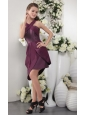 Dark Purple Column / Sheath Asymmetrical Short Satin and Chiffon Bridesmaid Dress