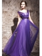 Purple Column / Sheath V-neck Floor-length Chiffon and Tulle Beading Prom / Evening Dress