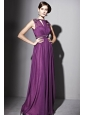 Eggplant Purple Empire Bateau Floor-length Sequin Beading and Ruch Prom / Evening Dress