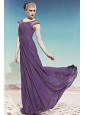 Dark Purple Empire Scoop Floor-length Chiffon Beading Prom / Evening Dress