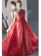 Rust Red Column / Sheath One Shoulder Floor-length Chiffon Beading Prom / Evening Dress