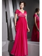 Red Column / Sheath V-neck Floor-length Chiffon Beading Prom / Evening Dress