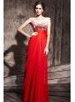 Red Column V-neck Floor-length Chiffon Beading Prom / Evening Dress