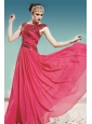 Coral Red Empire Scoop Floor-length Chiffon Ruch Prom Dress