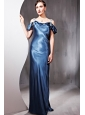 Sexy Sheath / Column Straps Sweep / Brush Train Elastic Woven Satin Beading Prom Dress
