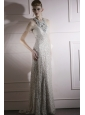 Silver Column / Sheath Scoop Brush Train  Sequins Lace and Tulle Prom / Evening Dress